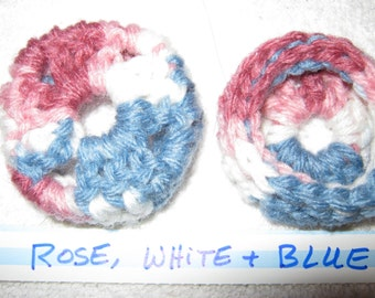 Rose White & Blue Ear Pads/Cushions/Cookies for Phone Headset, Call Center, Hand-made, NEW.