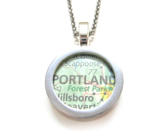Portland Oregon Map Pendant Necklace