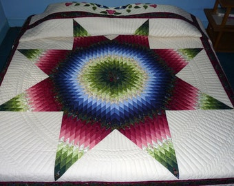 Radiant Star Amish Quilt King Size Hand Quilted