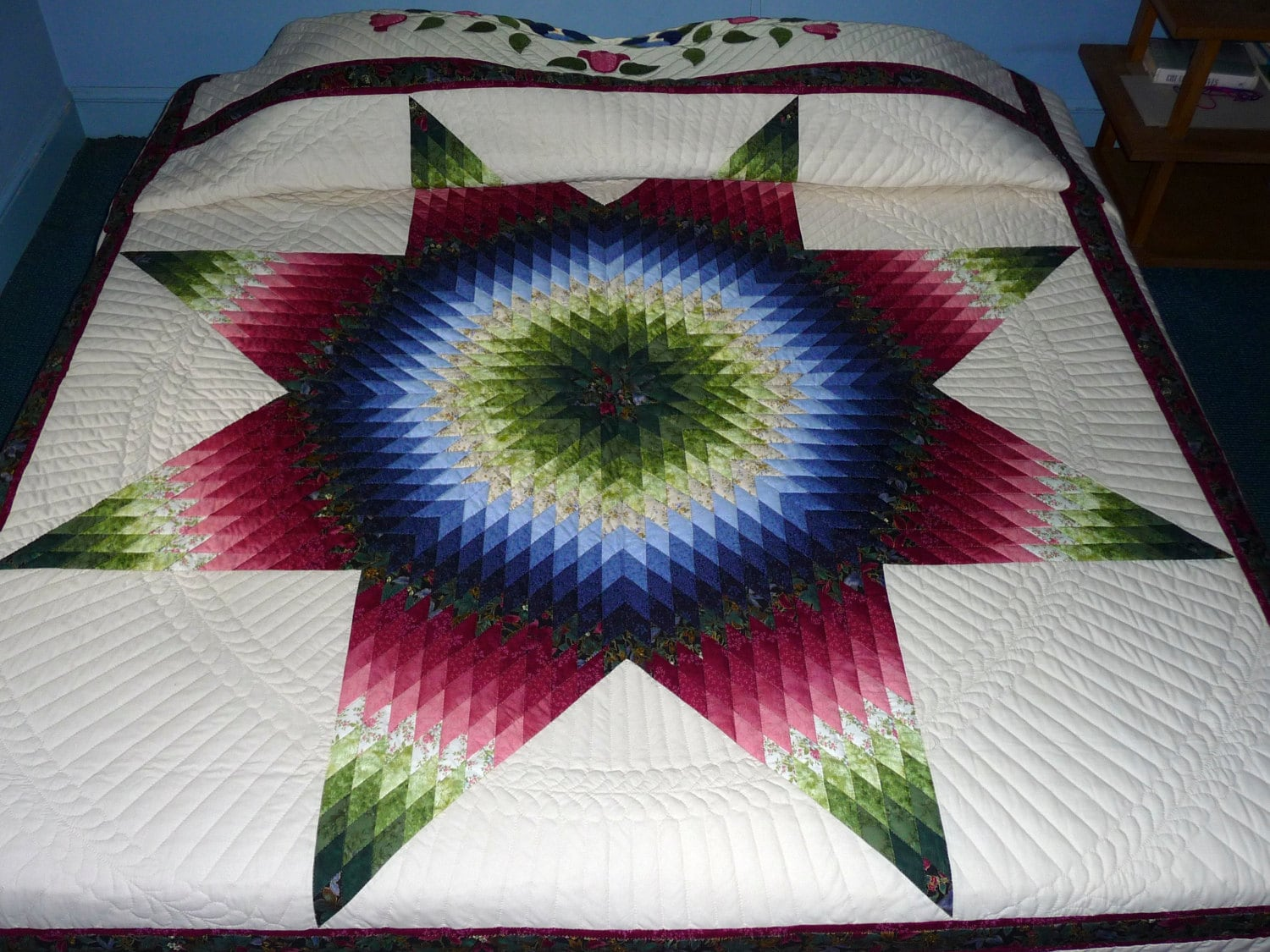 Quilt Pattern Radiant Star : Radiant Star Amish Quilt King Size Hand Quilted