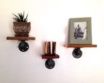 Charlie Wall Shelf Set - Set of Three Wall Shelves - Reclaimed Wood & Pipe