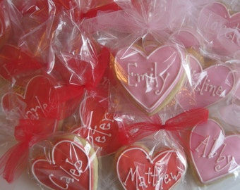Valentine cookies, personalized hearts