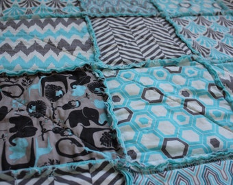 Baby Rag Quilt, Crib Quilt, Aqua and Grey, Baby Quilt, Zoo Animals, Ready To Ship