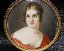Antique Miniature Portrait of Maria Pauline Bonaparte