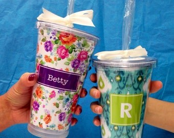 Personalized Tumbler Cup with Straw - Monogram Tumbler | Acrylic Tumbler | Personalized | Custom Tumbler | Teacher Gift | Bridesmaid Gift