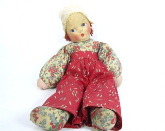 Vintage toy, Vintage hand made baby doll,stuffed doll,cloth doll,1930s doll,vintage doll,
