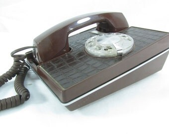 Vintage Dial Telephone, Brown Telephone, Faux Alligator Design, Dial Telephone,Retro Rotary Dial