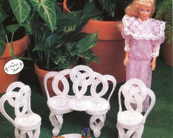 Plastic Canvas FASHION DOLL FURNITURE Pattern Leaflet - Outdoor Furniture Set -  Chair,Settee, Table - Original Not a Pdf Kenyon Books