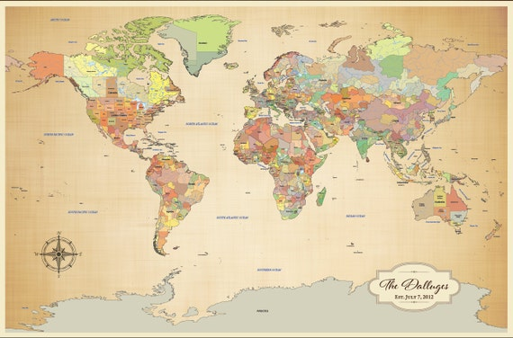2nd Anniversary Push Pin Travel Map Personalized World Map – Pushpin Travel Map