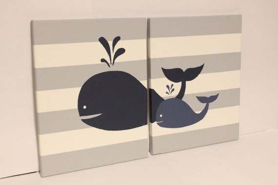 Whale Nursery Wall Art Baby Boy Girl Whale Decor Baby Boy Girl