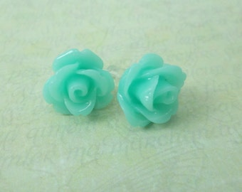 Rose Flower Earrings, Aqua, floral earrings, tiny rose