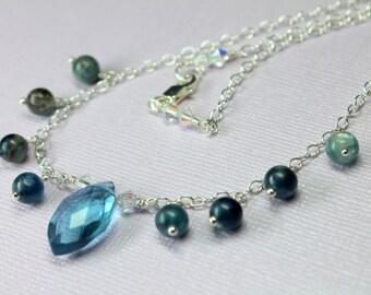 London Blue Quartz Gemstone Necklace on Sterling Silver, Large Quartz Pendant, Ocean Blue Wire Wrapped Stone Necklace
