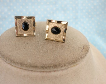 Vintage Black Glass Cuff LInks