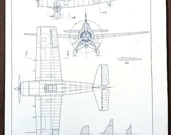 """WW2 Plan """"Grumman Wildcat/Martlet I"""" carrier fighter aircraft"""