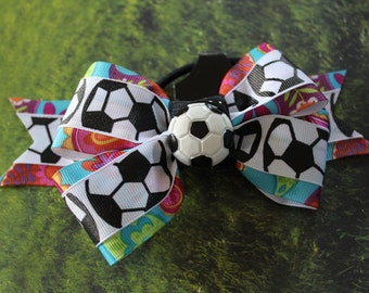 Fun flower and paisley soccer bow