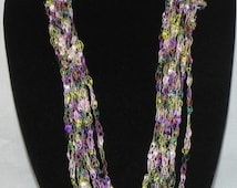 Purple, Pink, and Green Chain Crochet Ladder Ribbon Yarn Necklace Scarf with Button