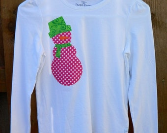 SALE****Hot Pink & White Polka Dot Appliquéd Snowman T-Shirt....Size 10/12....Ships In 1 Day