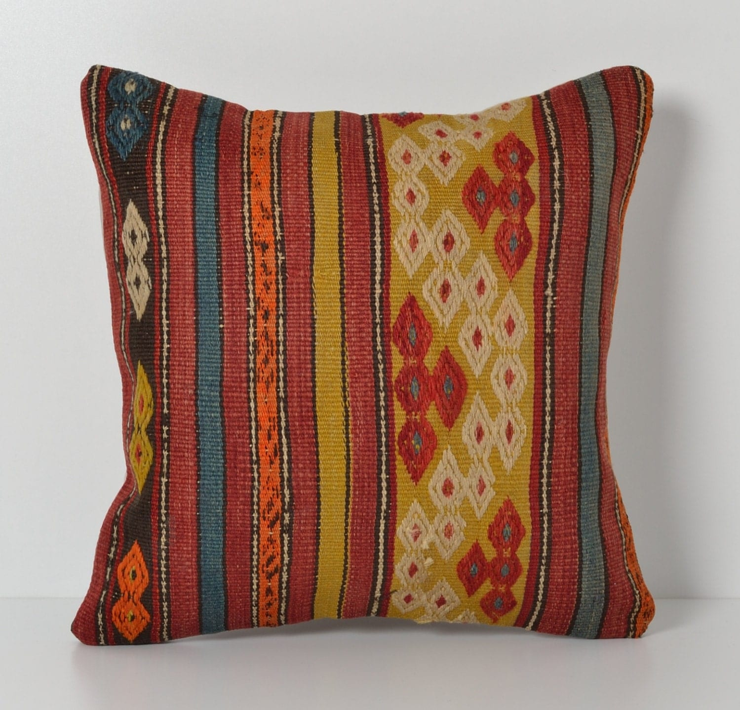 Vintage Throw Pillow Covers : Vintage Kilim Pillow Covers 16x16 Inches Throw Pillow Cover