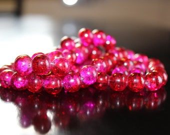 80 approx. red and hot pink 10 mm crackle glass beads, 1.5mm hole