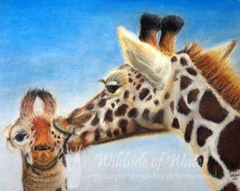 Print of Giraffes Painting