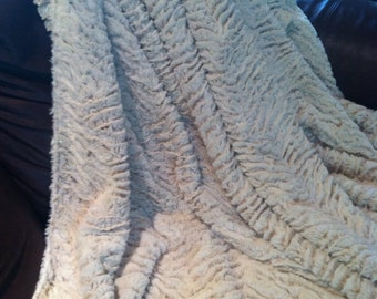 Camel and Cream Faux Fur Throw Blanket - Choose your size