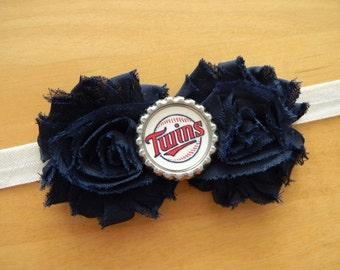 Minnesota Twins inspired shabby flower baby/toddler/adult headband