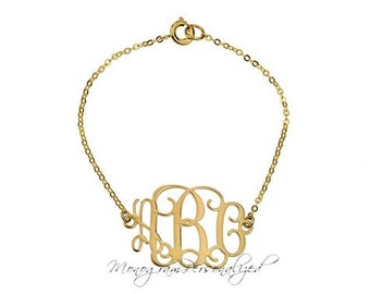 Monogram Bracelet - 1 inch Personalized Monogram - 18K Gold Plated