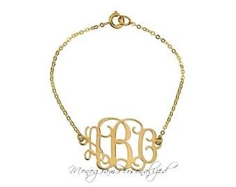 Monogram Bracelet - 1 inch Personalized Monogram - 18K Gold Plated