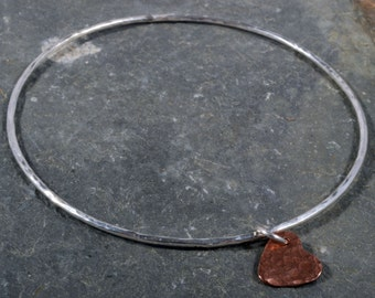 Sterling silver round hammered bangle copper heart charm 925 silver stacking bangle
