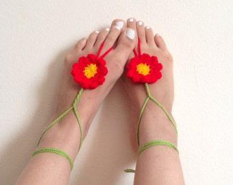 Barefoot sandals, crochet barefoot sandals, flower barefoot sandals.