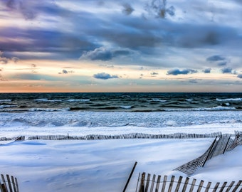 Michigan Photography,Michigan Art, Clouds & Snow Photography,Beach Print,Saugatuck Michigan,Oval Beach,Saugatuck,Beach Wall Decor, Beach Art