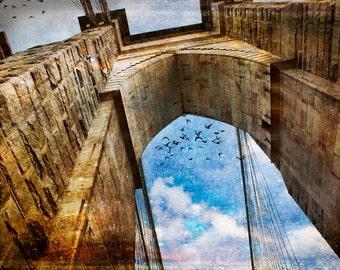 New York Photography, NY  Art, New York  Prints, Urban Art, NY Photo, Brooklyn Bridge, Blue Sky, Brick Bridge Photography,  Urban, NYC Art