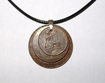 "Black Waxed Cord British Coppers 1921 Penny, Half Penny & Farthing Necklace17"" 43cm With Extension Chain"