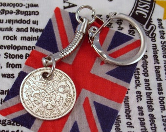 Lucky 1956 6d Sixpence English Coin Keyring Key Chain Fob Queen Elizabeth II