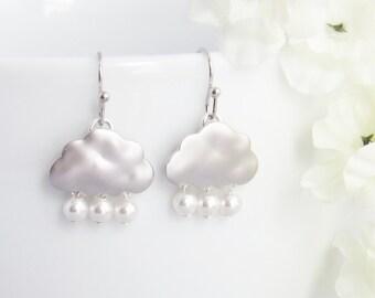 Cloud Earrings, Rain Earrings, Dangle Earrings, Cute Earrings, Storm Earrings, Mothers Day Gift, Gift for Best Friend, Gift for Girls, Girly