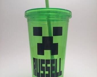 Personalized Minecraft Creeper Acrylic Tumbler Minecraft