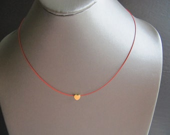 Red Wire Heart Necklace