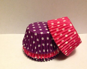 50 count - Grease Resistant Bright Pink/Purple with White Polka dots standard size cupcake liners/baking cups