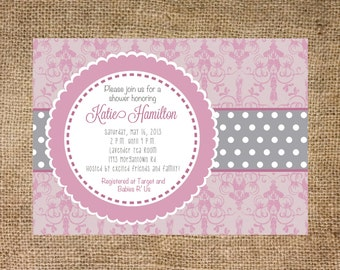 Pink and Gray Baby Shower, damask and polka dot,