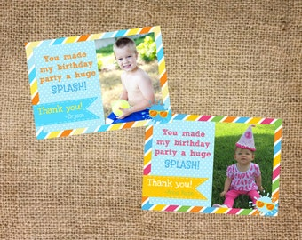 Pool party, water themed photo thank you card
