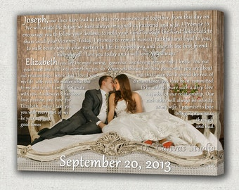 Anniversary Gift  Custom Canvas Print  with Lyrics, First Dance, Vows. Unique Custom Wall Decor.