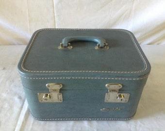 Vintage Suitcase  Blue Train Case Monarch Vinyl Suitcase , luggage, make up case  No. 6