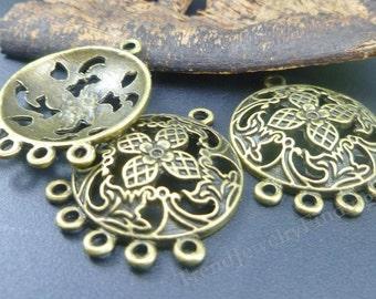 10 Bronze Earrings Base Links - Chandeliers settings - Earrings Components - 5 pairs - EF033