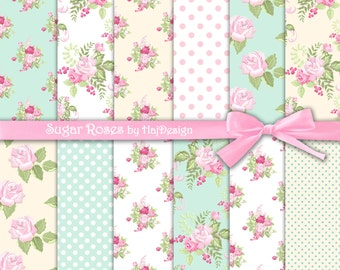 """Shabby chic digital paper : """"SUGAR ROSES"""" rose digital paper in shabby style on pale blue and yellow background, pink shabby roses"""