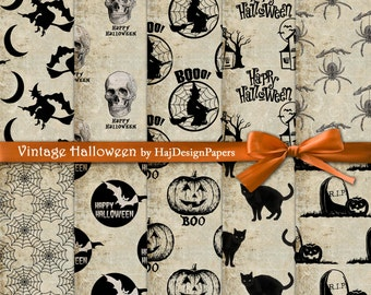 "Halloween digital paper : ""Vintage Halloween"" Halloween digital backgrounds for scrapbooking, decoupage, invites, cards, vintage paper"