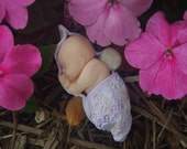 Fairy Baby for Miniature Fairy Gardens! Baby Fairy with Purple Leaf!