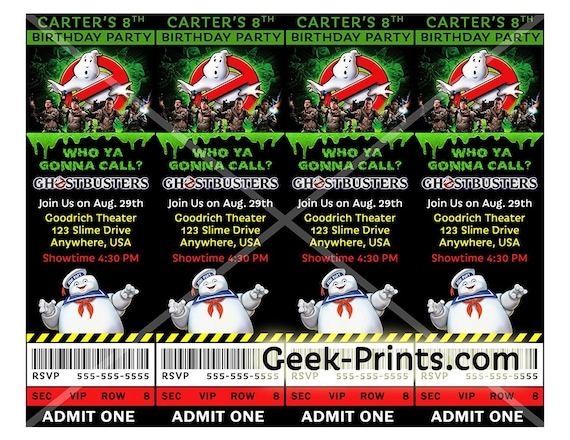 Ghostbusters Movie Birthday Party Invitation by Geek Prints Catch