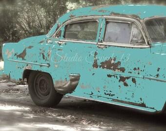 "Old Car Photo, Retro Blue Car Print, Vintage Car Art, Antique Car Print, Turquoise Art, Retro Art, Rustic Man Cave Art- ""True Blue Friend"""