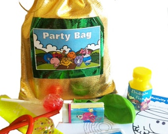 Mr Men party/loot bags with 9 items inside