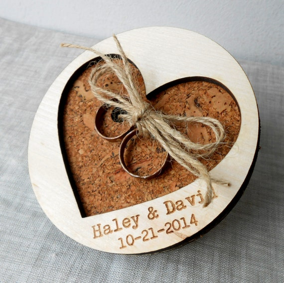 Rustic Ring Bearer Pillow Personalized Wedding Ring Pillow